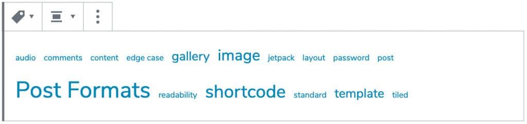 Screenshot des Schlagwörter-Wolke-Blocks mit Beispieleinträgen.