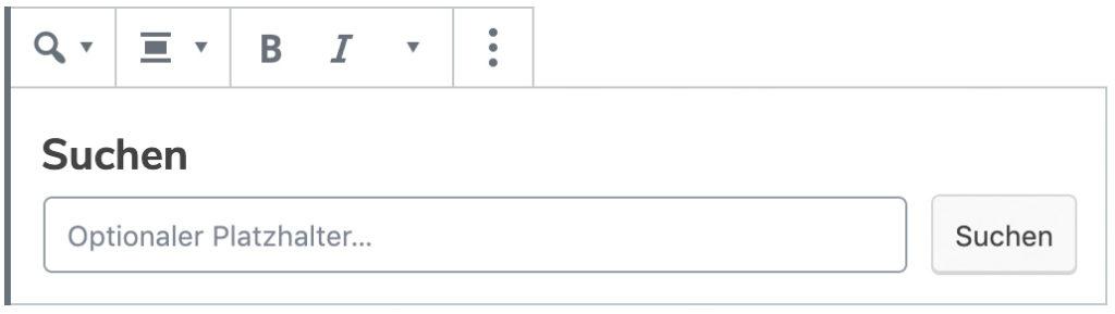 Screenshot des Suchen-Blocks mit den Standard-Werten.