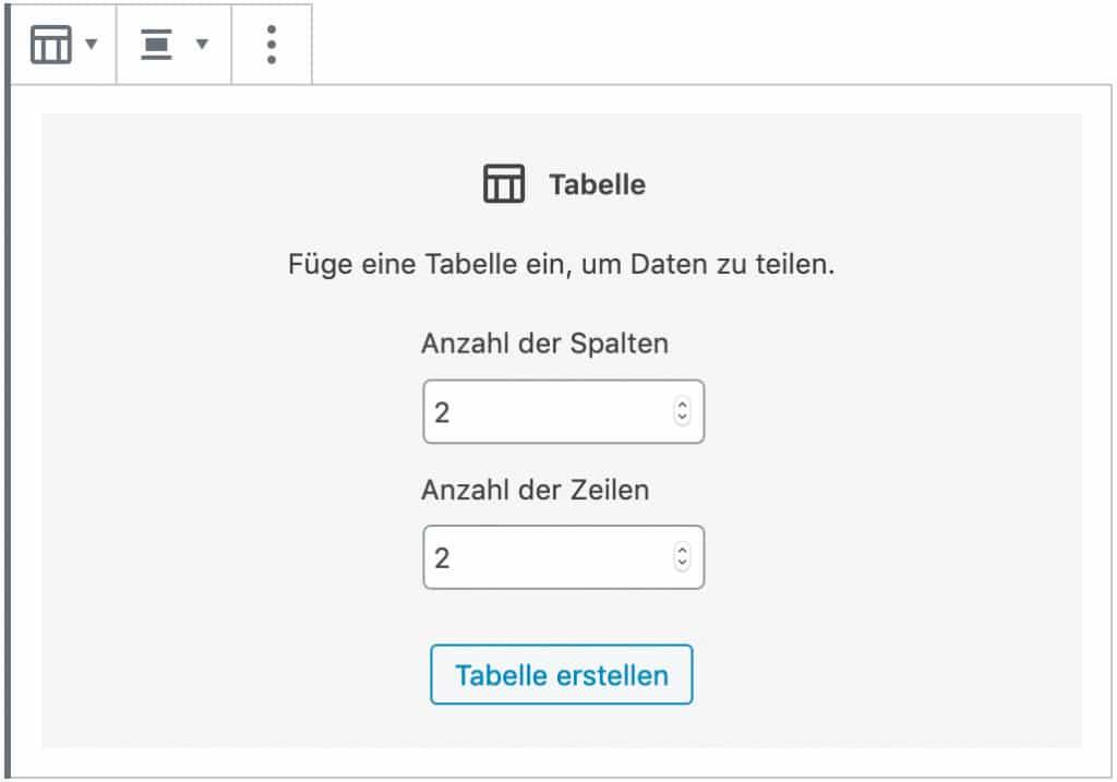 Screenshot des Tabellen-Blocks, ohne das Inhalt hinzugefügt wurde. Es wird die gewünschte Anzahl der Spalten und Zeilen abgefragt.
