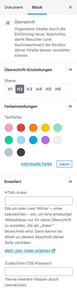 Screenshot der Überschrift-Einstellungen in der Seitenleiste.