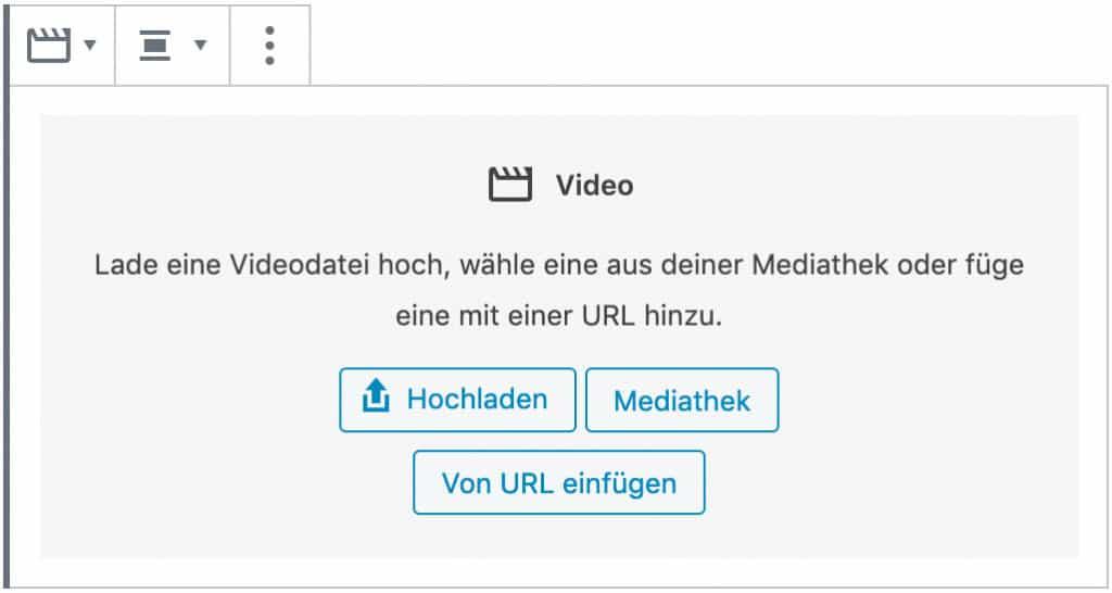 Screenshot des Video-Blocks, ohne das Inhalt hinzugefügt wurde.