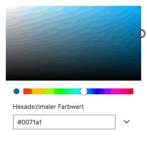 Screenshot des Farbwählers für eine individuelle Farbe.