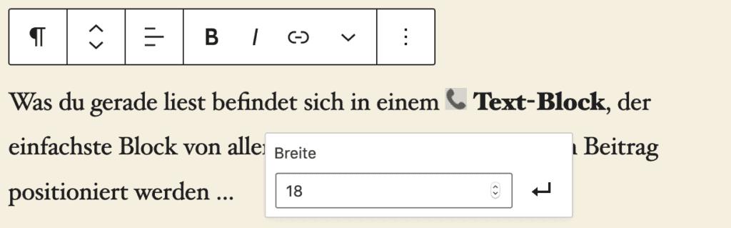 Screenshot eines Absatz-Blocks mit einem Inline-Bild, dessen Bearbeitungs-Popup mit der Breitenangabe geöffnet ist.