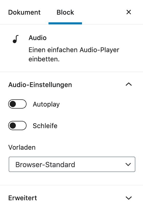 Screenshot der Audio-Einstellungen in der Seitenleiste.
