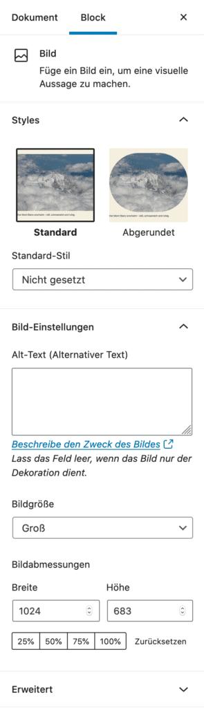 Screenshot der Einstellungen des Bild-Blocks in der Seitenleiste.
