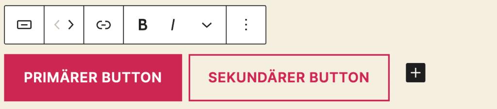 Screenshot des Buttons-Blocks, es wurden zwei Buttons mit Text hinzugefügt. Beim zweiten Button ist der Stil zu Kontur geändert worden.