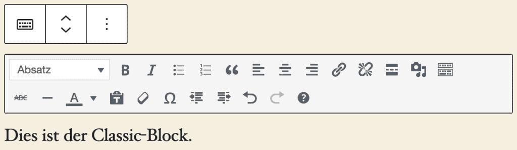 """Screenshot des Classic-Blocks, mit einem kurzen Beispieltext: """"Dies ist der Classic-Block."""""""