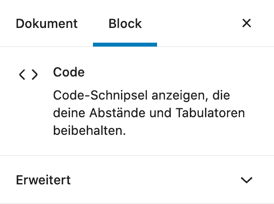 Screenshot der Code-Einstellungen in der Seitenleiste.