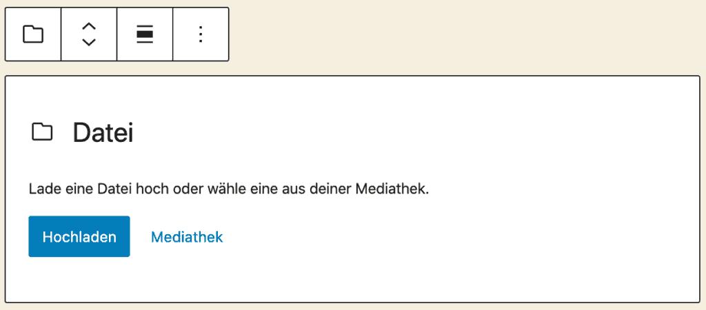 Screenshot des Datei-Blocks, ohne das Inhalt hinzugefügt wurde.