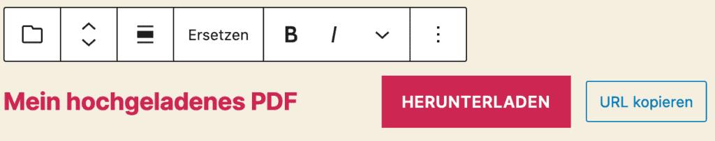 Screenshot des Datei-Blocks, nachdem eine Beispieldatei hinzugefügt wurde.