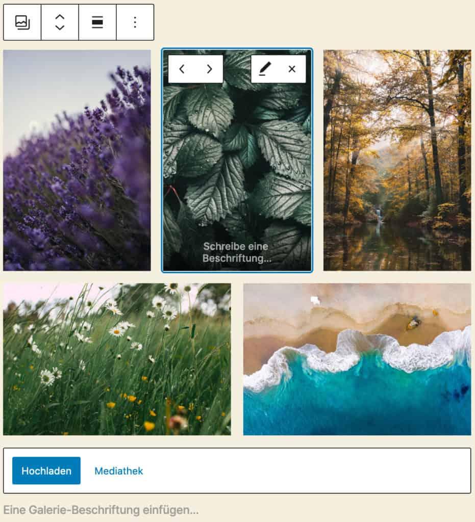 Screenshot des Galerie-Blocks, bei dem fünf Beispielbilder mit Naturmotiven hinzugefügt wurden. Drei Bilder im Hochformat in der ersten Reihe, darunter zwei Bilder im Querformat. Das mittlere Bild in der ersten Reihe ist im Fokus, alle Editier-Optionen werden angezeigt.