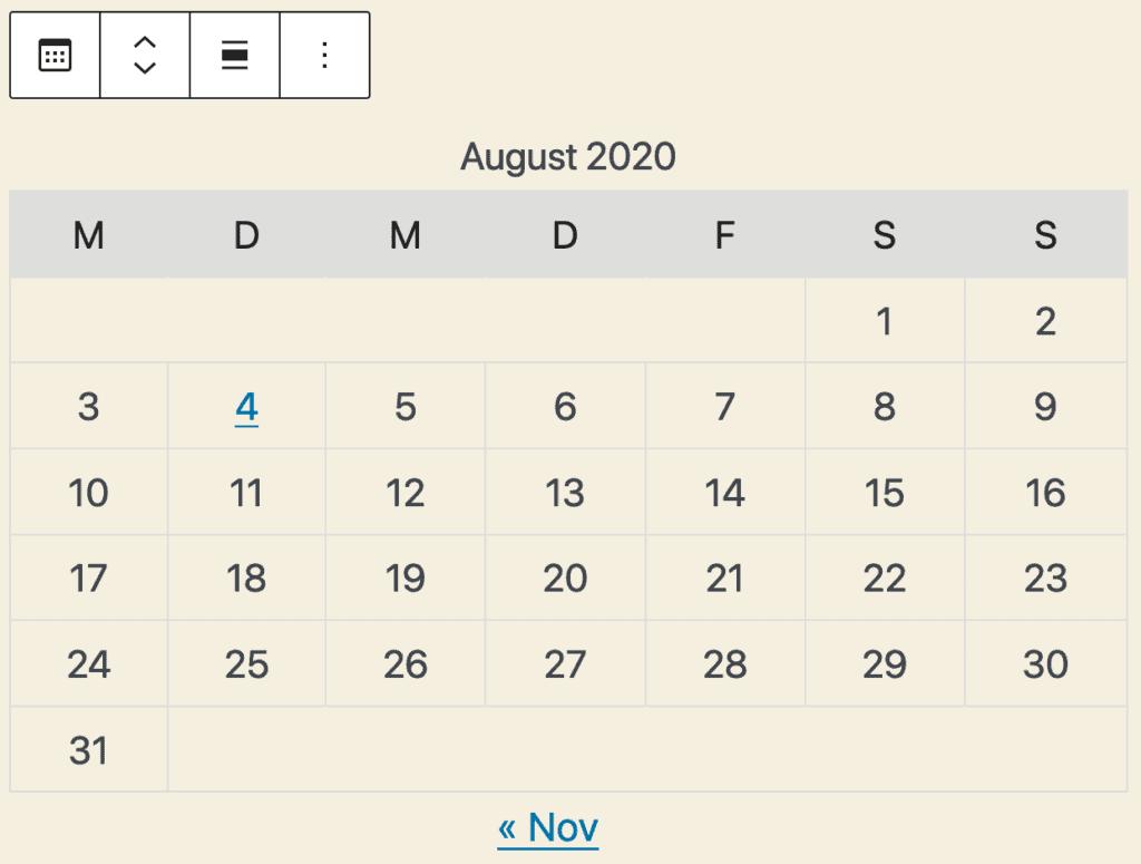 Screenshot des Kalender-Blocks. Dargestellt wird eine tabellarische Übersicht von August 2020.