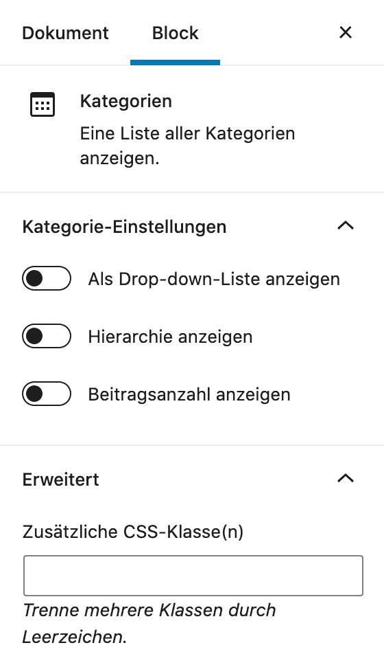 Screenshot der Kategorien-Einstellungen in der Seitenleiste.