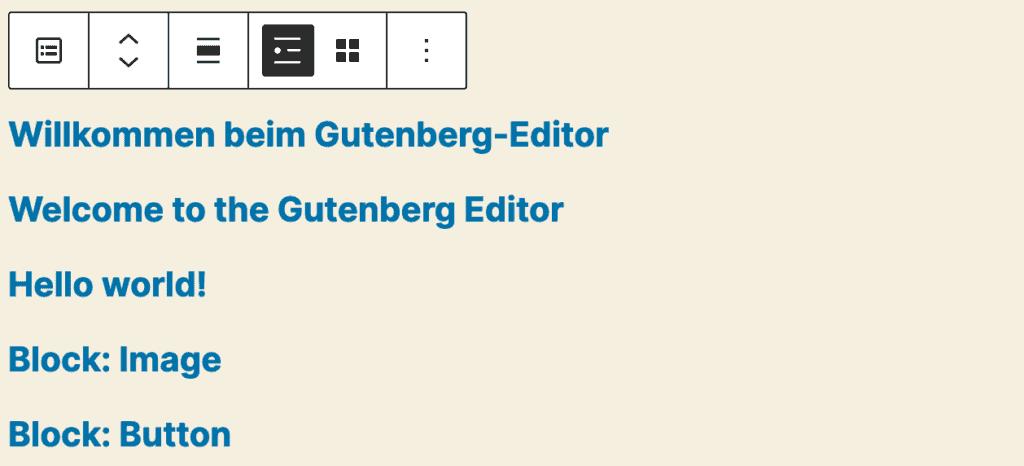 Screenshot des Neueste-Beiträge-Blocks, mit Beispiel-Beiträgen in der Listenansicht.