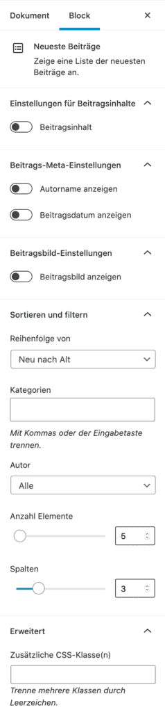 Screenshot der Neueste-Beiträge-Einstellungen in der Seitenleiste.