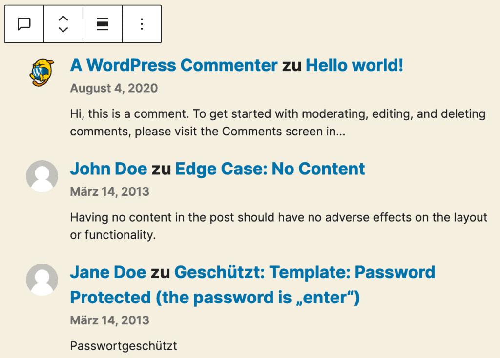 Screenshot des Neueste-Kommentare-Blocks, mit drei Beispiel-Kommentaren.