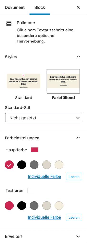 Screenshot der Pullquote-Einstellungen in der Seitenleiste.