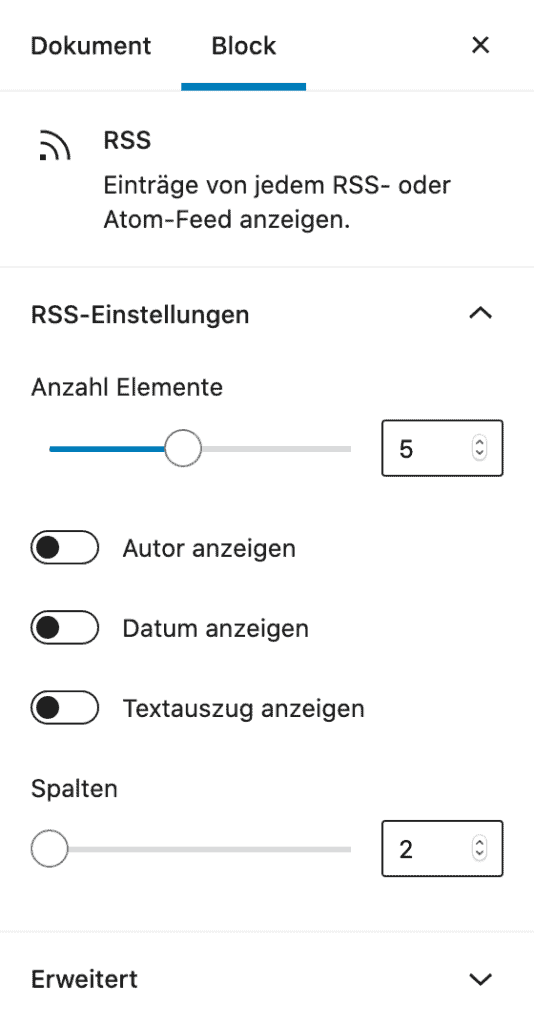 Screenshot der RSS-Block-Einstellungen in der Sidebar.