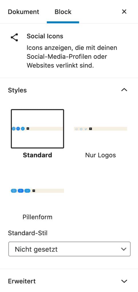 Screenshot des Eltern-Elements des Social-Icons-Block.
