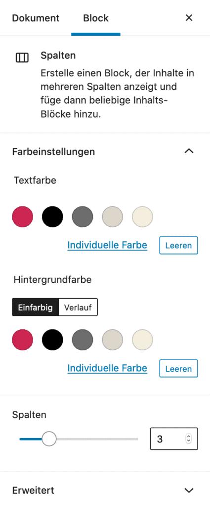 Screenshot der Spalten-Einstellungen in der Seitenleiste.