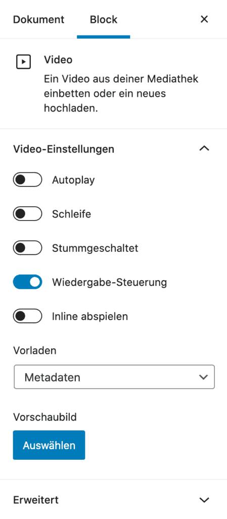 Screenshot der Video-Einstellungen in der Seitenleiste.