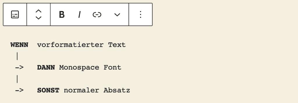 Screenshot des Vorformatiert-Blocks, mit einem hinzugefügten Beispielinhalt.