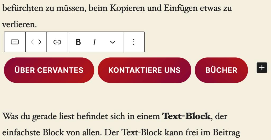 """Screenshot der Vorlage """"Drei Buttons"""", die zum Inhalt hinzugefügt wurde."""