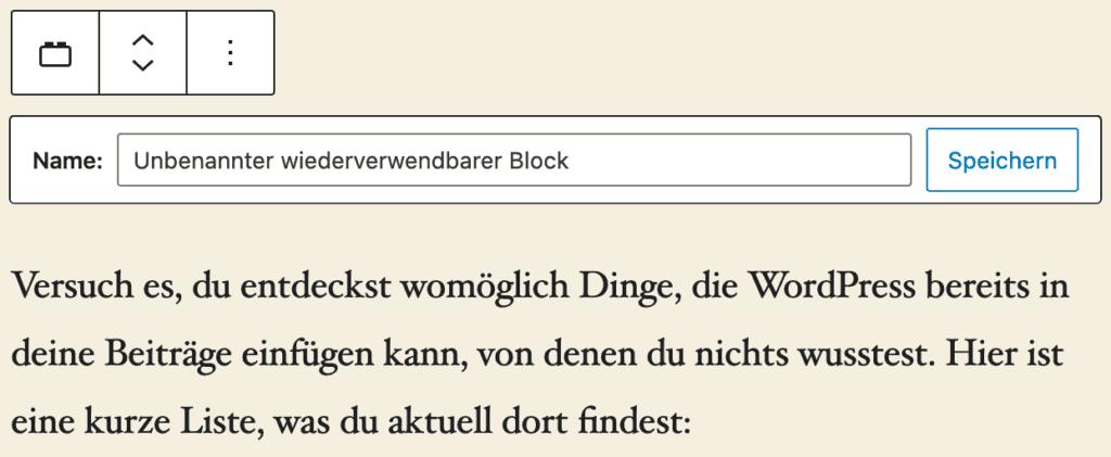 Screenshot eines wiederverwendbaren Blocks vor dem Speichern.