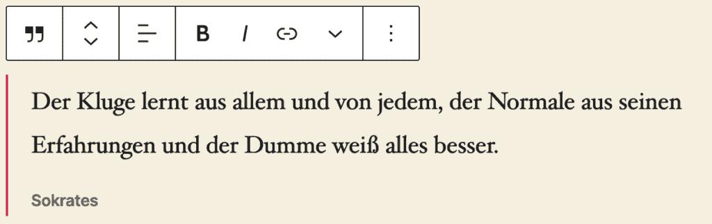Screenshot des Zitat-Blocks, bei dem ein Beispielzitat von Sokrates hinzugefügt wurde.