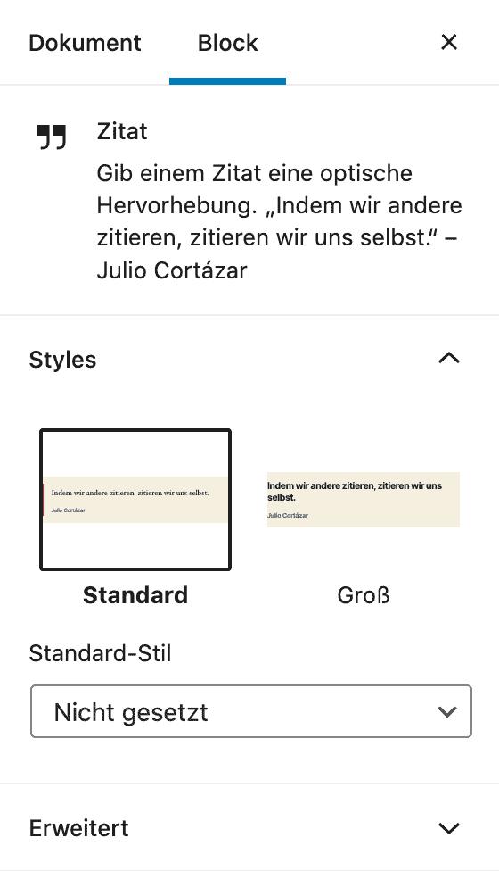 Screenshot der Zitat-Einstellungen in der Seitenleiste.