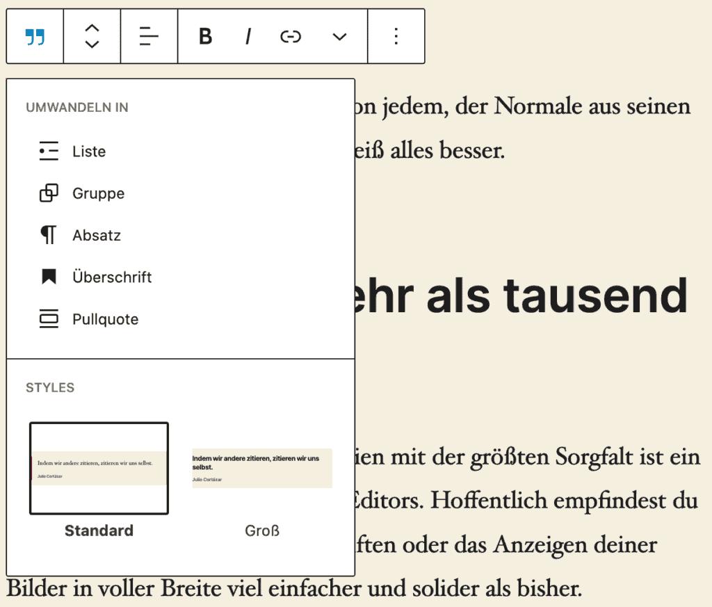 Screenshot des geöffneten Stil- und Umwandeln-Fensters eines Zitat-Blocks.