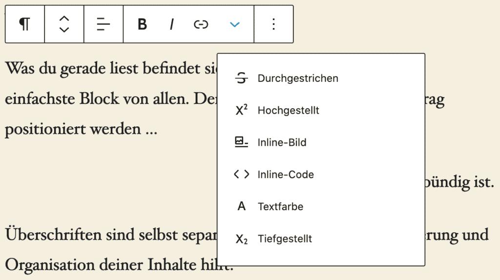 Screenshot der erweiterten Textformatierung an einem Absatz-Block.