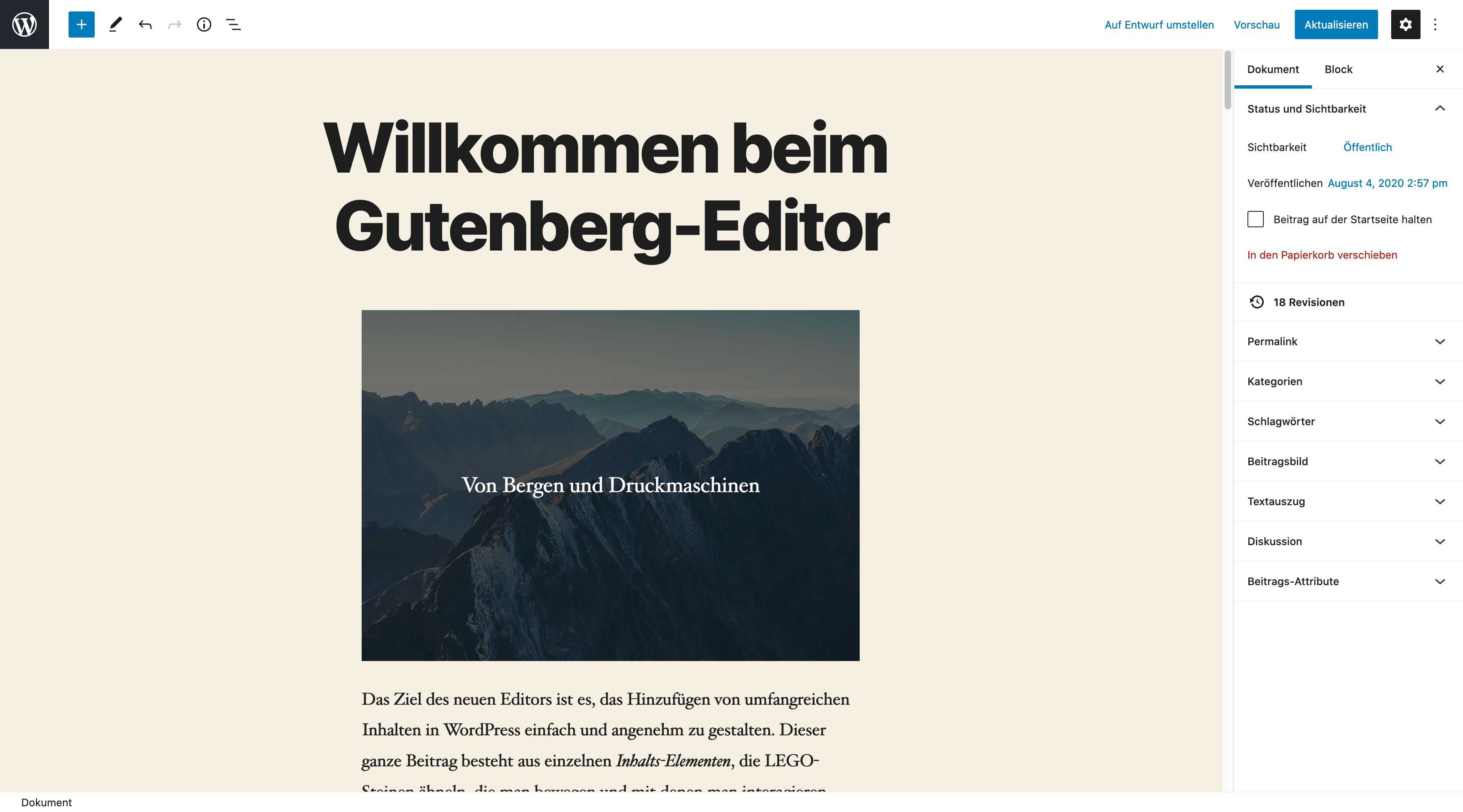 Ein Screenshot des WordPress Block-Editors. Es zeigt einen Beispiel-Beitrag.