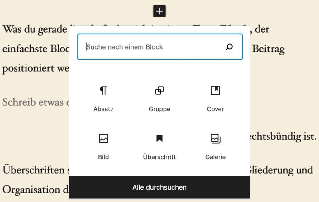 Screenshot des Quick-Inserter-Werkzeugs, wenn das Plus-Symbol im Inhalt angeklickt wird.