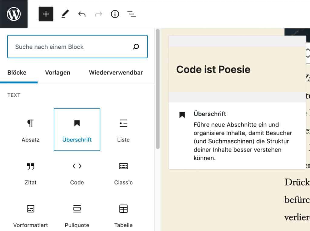 Screenshot des Inserter-Werkzeugs mit Vorschau des Überschrift-Blocks, der über dem Inhalt schwebt.