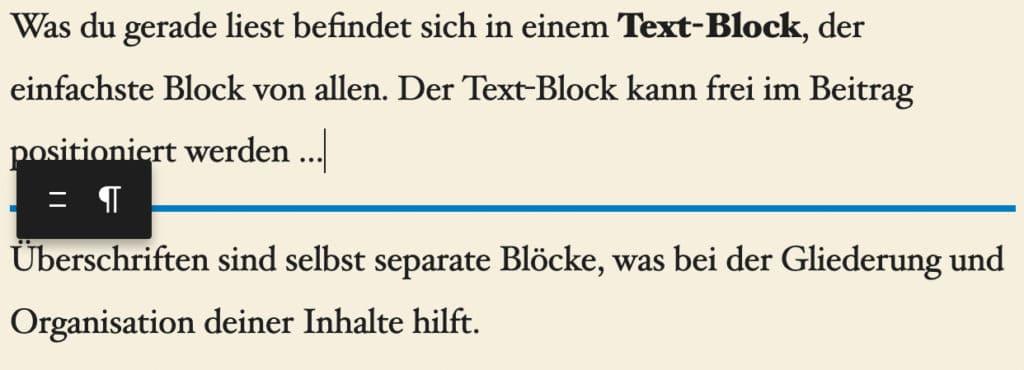 Screenshot eines Absatz-Blocks, der mit der Maus verschoben wird. Der blaue Balken zeigt die aktuell gewählte Position an.