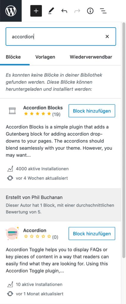 """Screenshot des Inserter-Werkzeugs, wenn nach """"accordion"""" gesucht wird. Es werden zwei Blöcke angezeigt, die zusätzlich installiert werden können."""