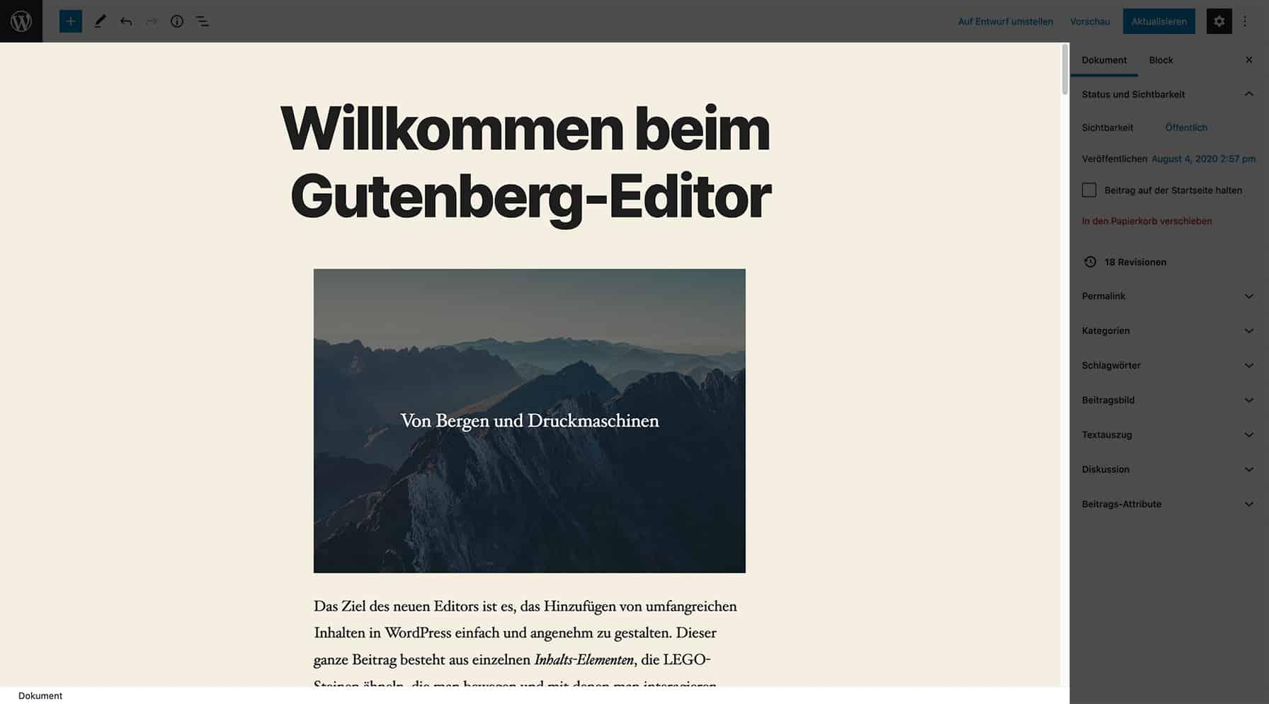 Screenshot des neuen WordPress Block-Editors. Der Inhaltsbereich ist hervorgehoben.
