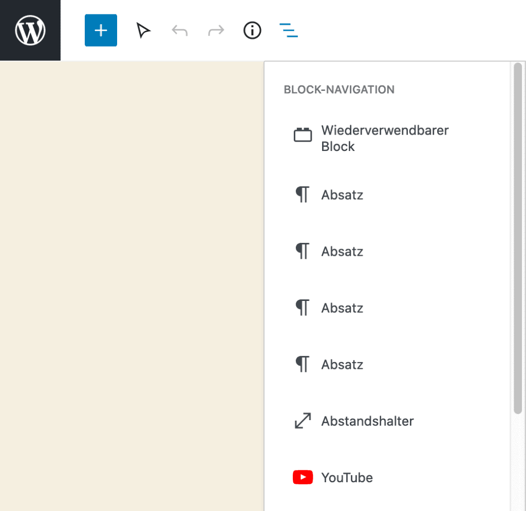 Screenshot des geöffneten Fensters der Block-Navigation.