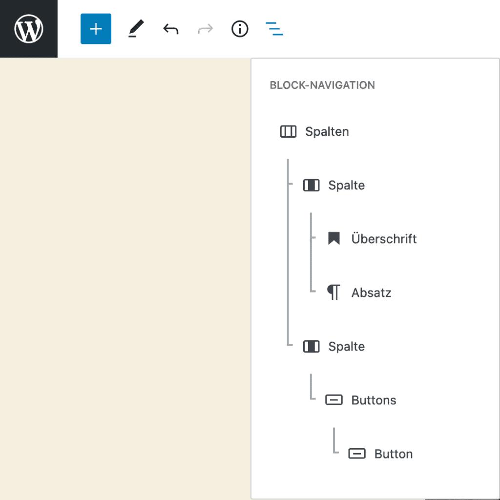 Screenshot des geöffneten Fensters der Block-Navigation. Der Fokus im Editor liegt auf einem Spalten-Block, dessen Inhalte komplett aufgeschlüsselt sind.