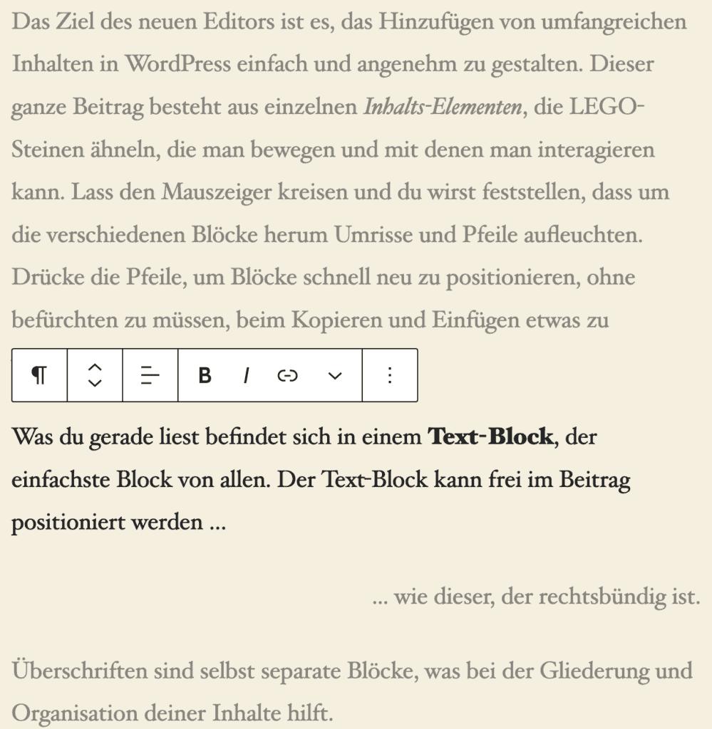Screenshot des Spotlight-Modus, bei dem ein Absatz-Block hervorgehoben ist.