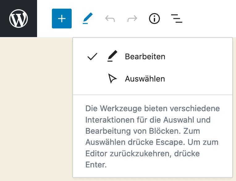 """Screenshot der Werkzeuge """"Bearbeiten"""" und """"Auswählen"""" in der oberen Werkzeugleiste."""